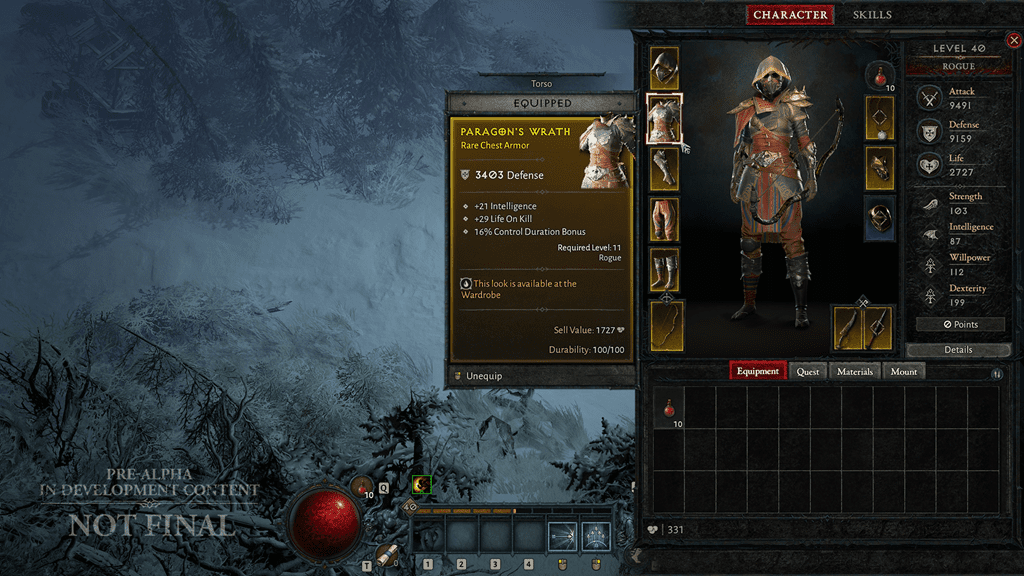 Diablo IV character inventory screen