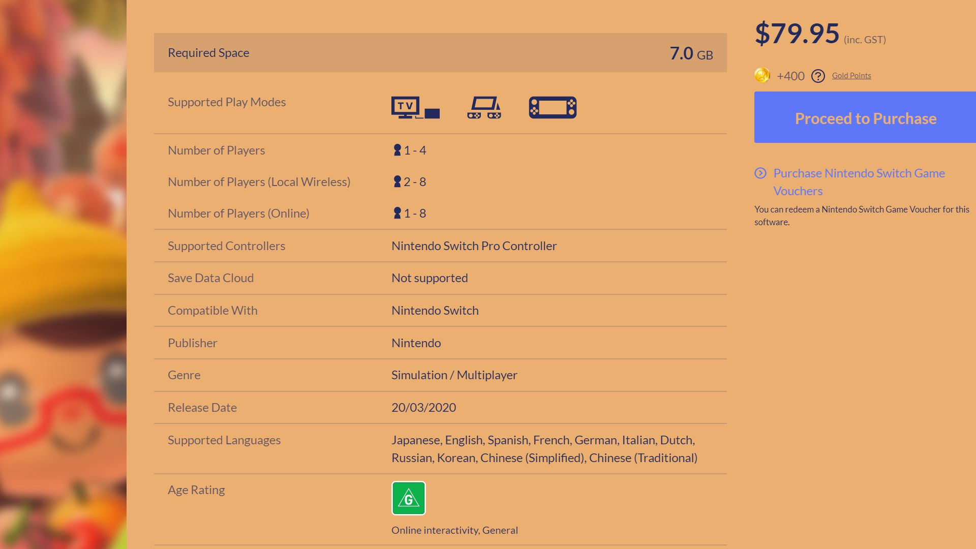Screenshot of the official Nintendo listing for the Animal Crossing New Horizons video game.