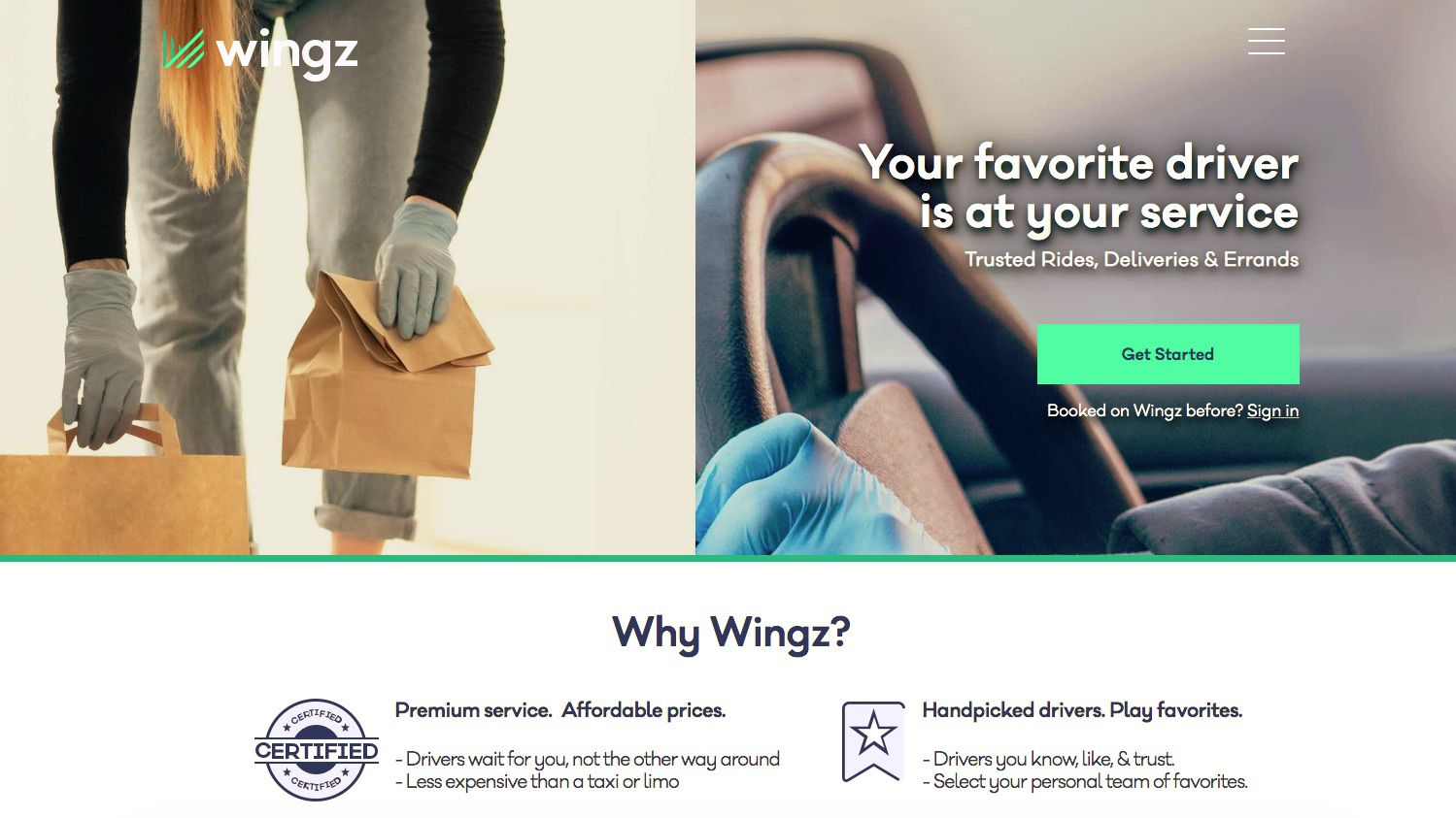 Wingz ridesharing service