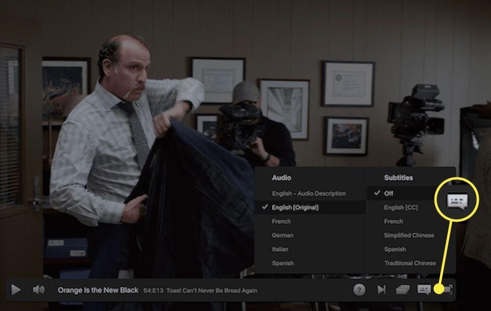 A screenshot of Netflix with the subtitles menu highlighted