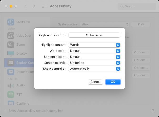 macOS Accessibility Options