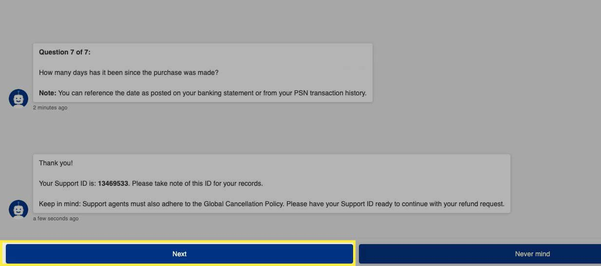 Receiving Support ID from PlayStation support bot.