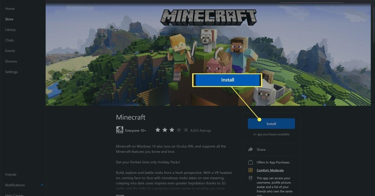 Install button on the Oculus Minecraft app.