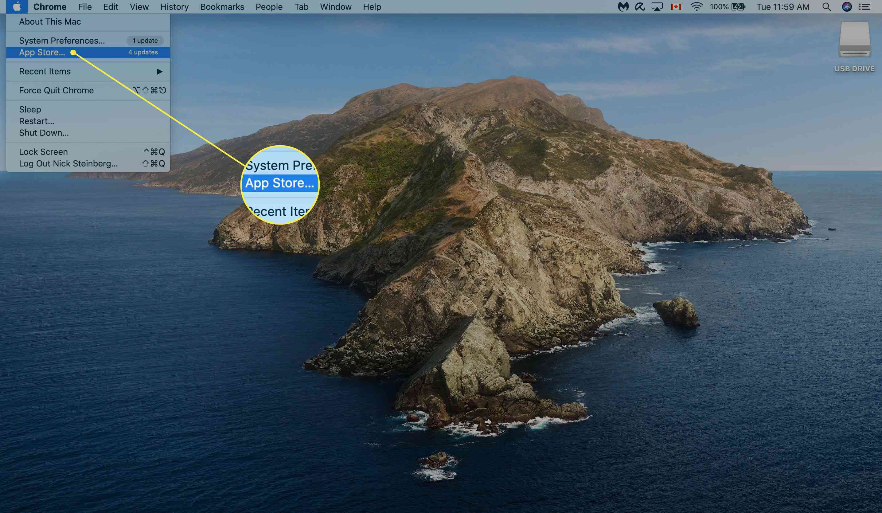 Selecting Apple App Store from Mac Desktop.