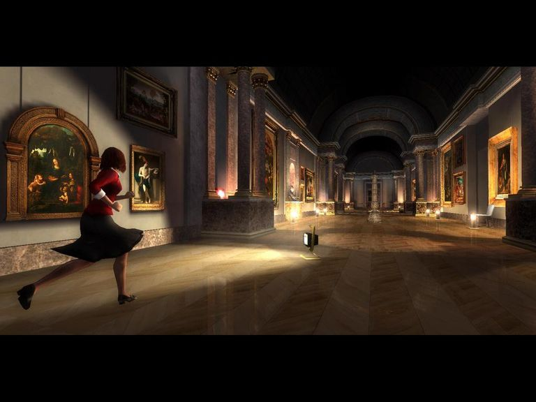 In-game character running in a museum from the video game for The Da Vinci Code