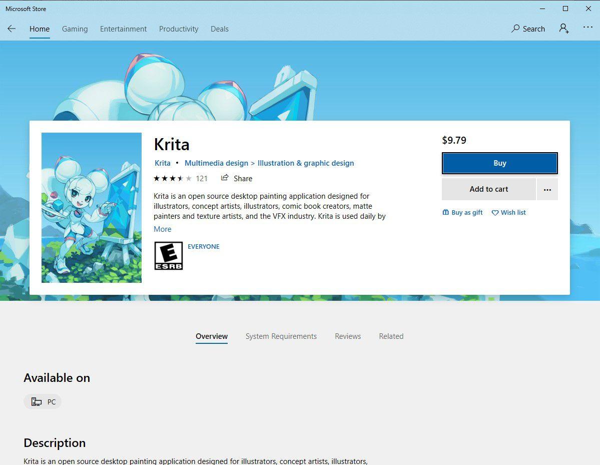 Krita in the Microsoft Store