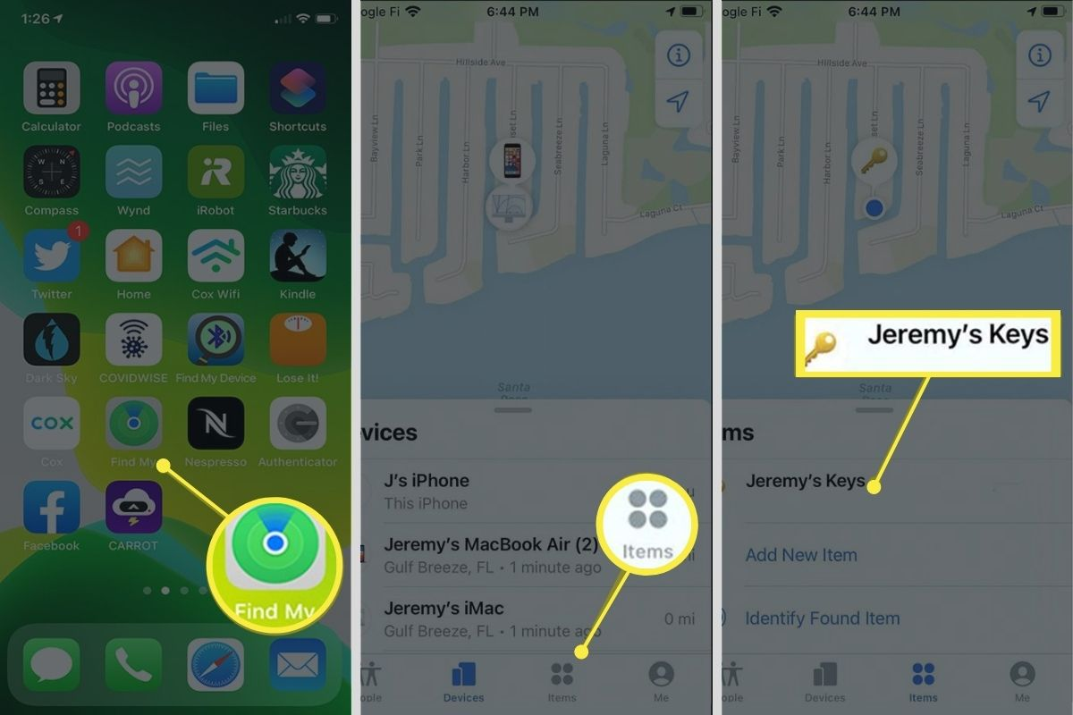 Find My app on an iPhone showing Items list and a missing AirTag