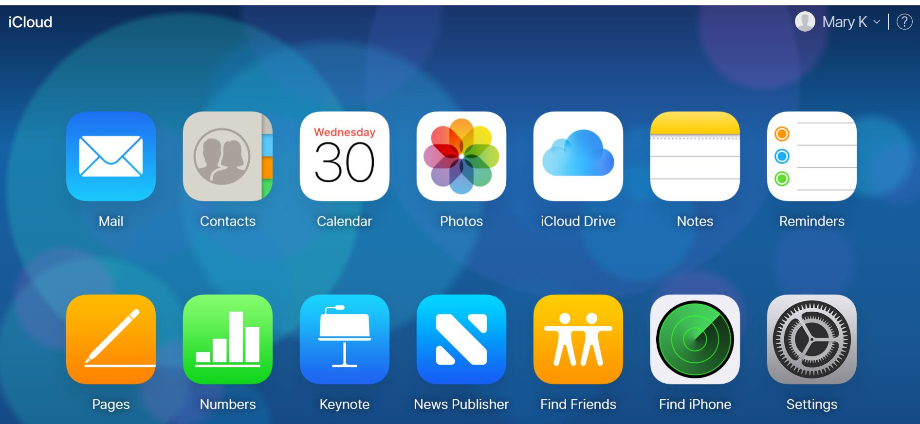 The iCloud.com homepage with icons for mail, contacts, calendar, and other apps.