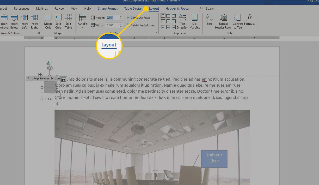 Layout tab in Word