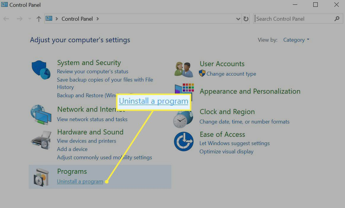 Windows uninstall a program