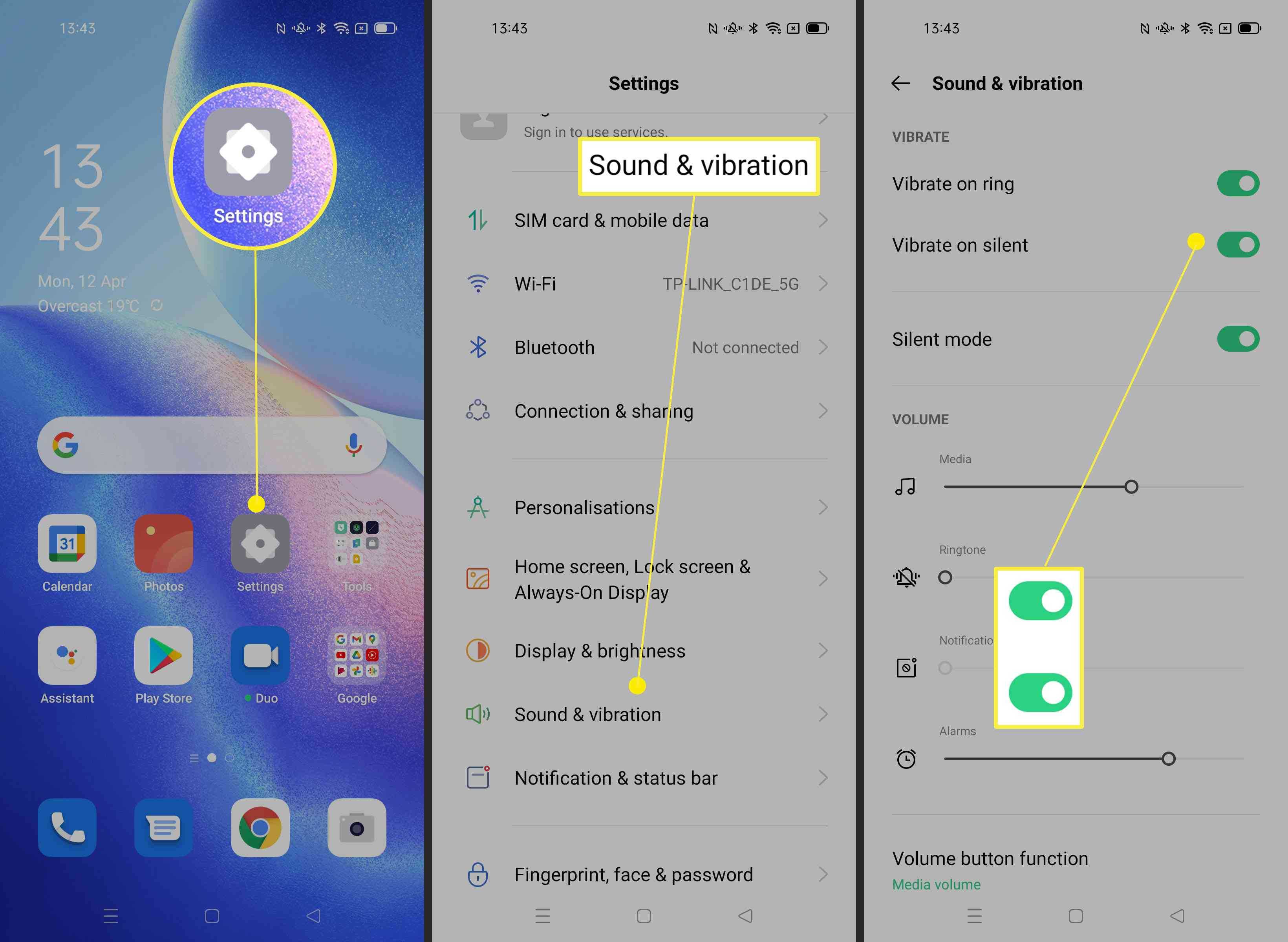 Steps required to adjust vibration on Android phone