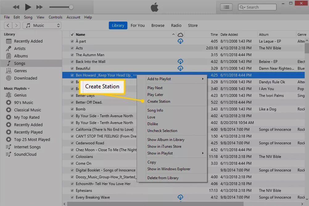 Create Station menu item in iTunes