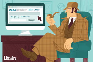 An illustration of Sherlock Homes looking at ZabaSearch.