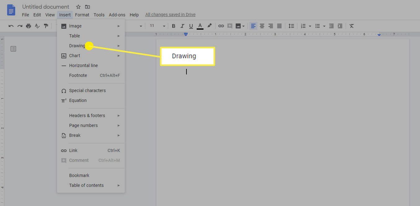 The Drawing option on Google Docs.