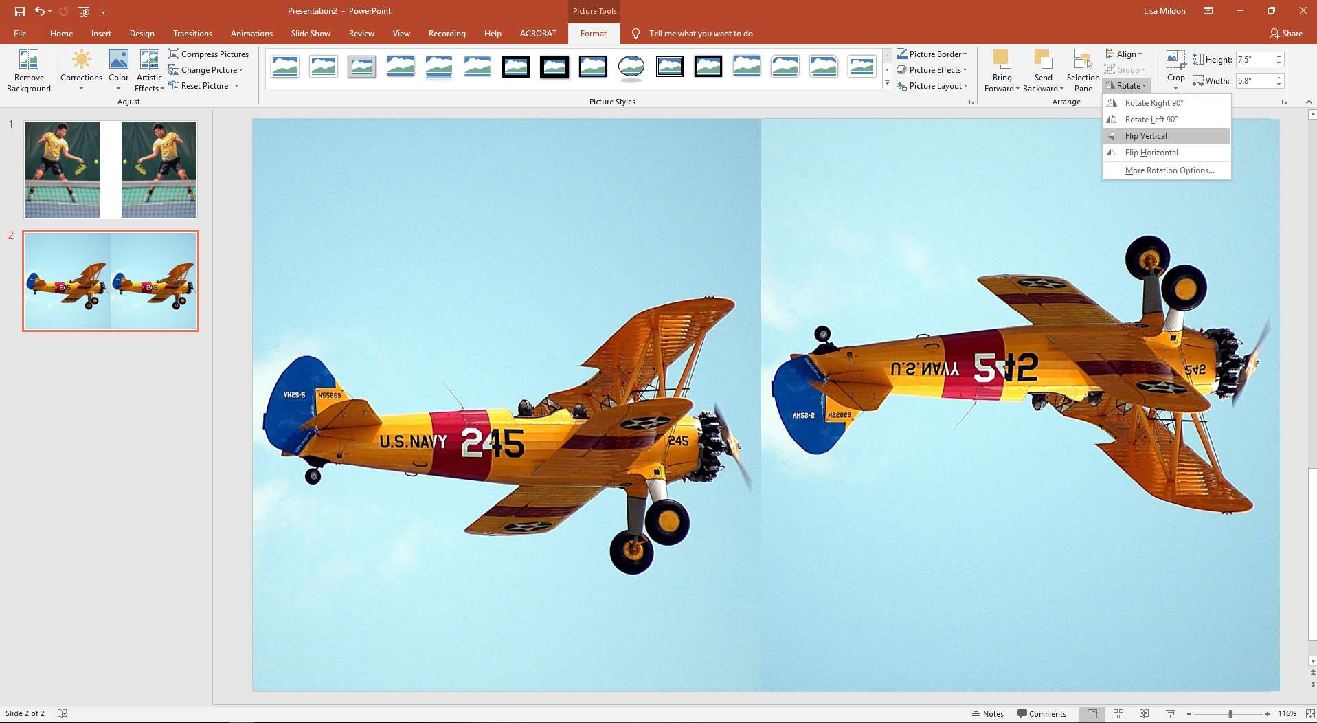 PowerPoint slide showing two planes with one flipped upside down.