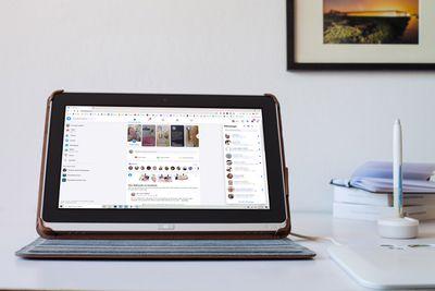 Facebook displayed on a Windows tablet.