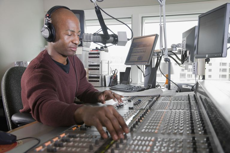 African Radio DJ at work