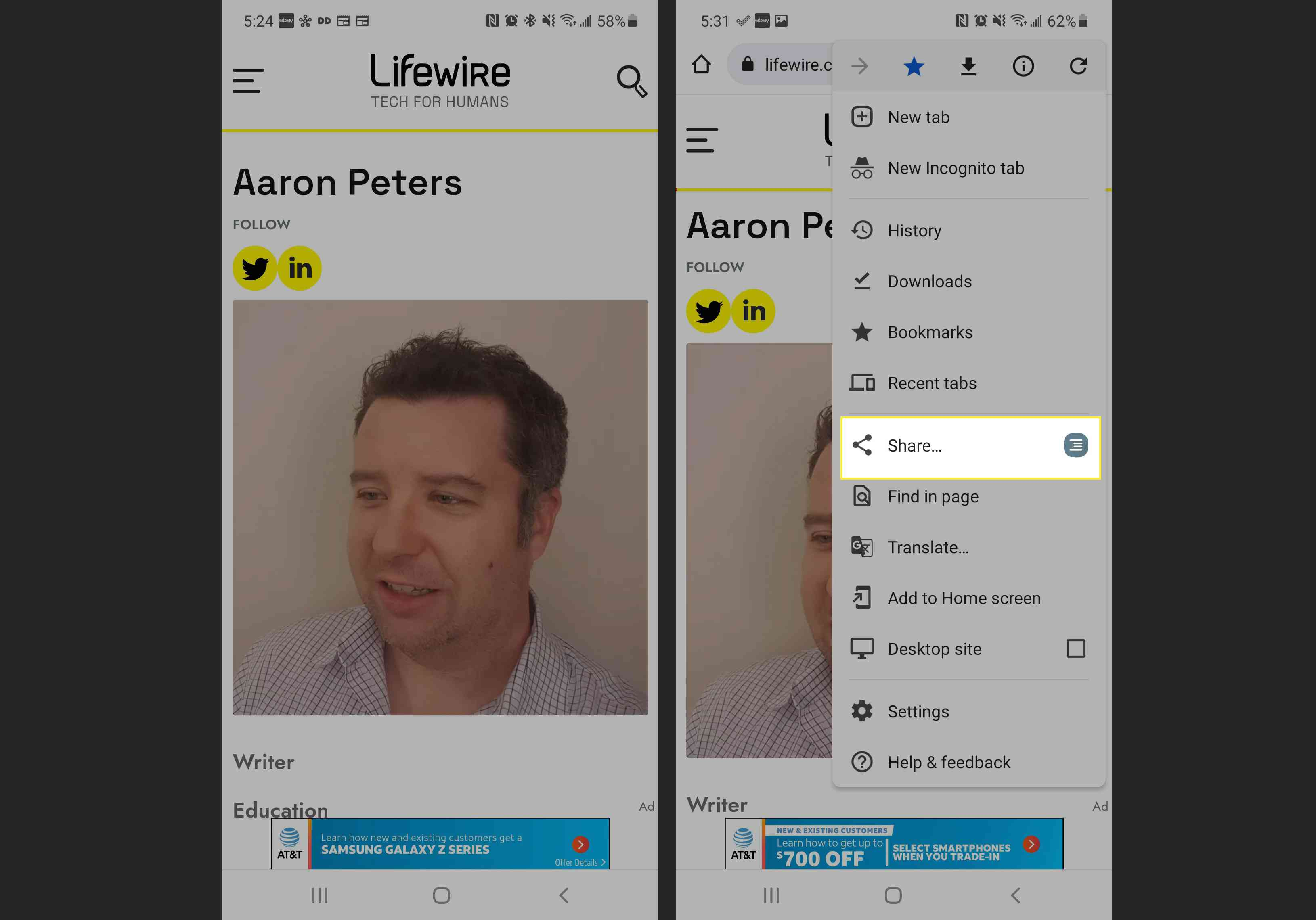 Lifewire Contributor Bio on a Mobile Phone and Android share option highlighted