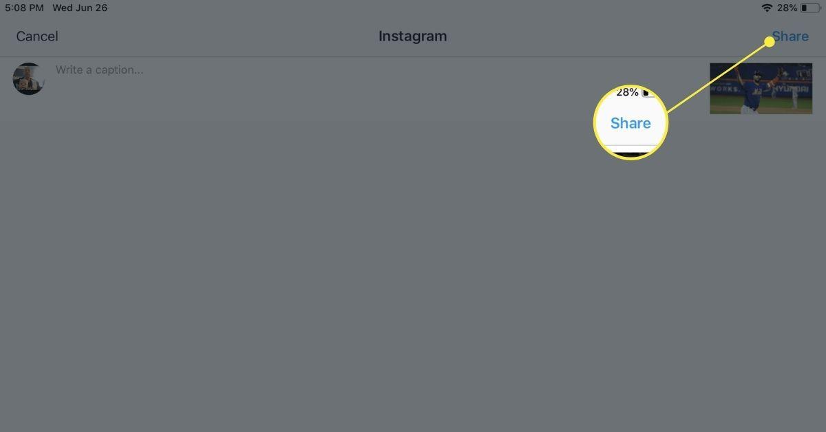 The Instagram Photos share interface on iPad