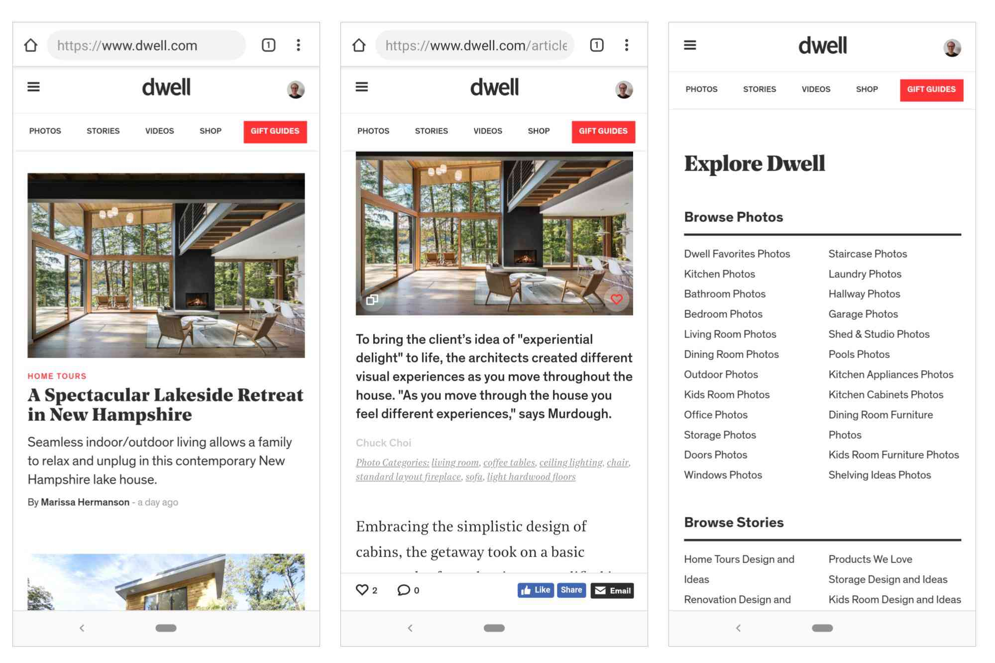 3 screenshots: Dwell.com home screen; Article photo, with heart (favorite) selected; Explore dwell, showing direct links to categories of content