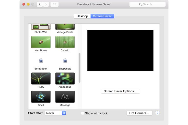 Screen Saver Preference Pane on Mac
