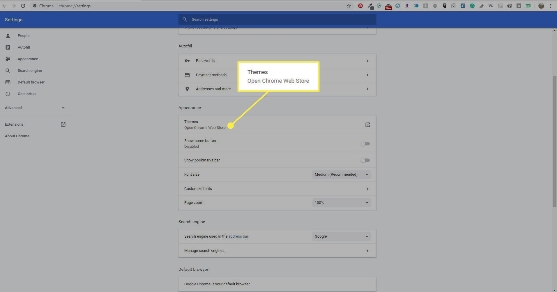 Themes in Chrome settings