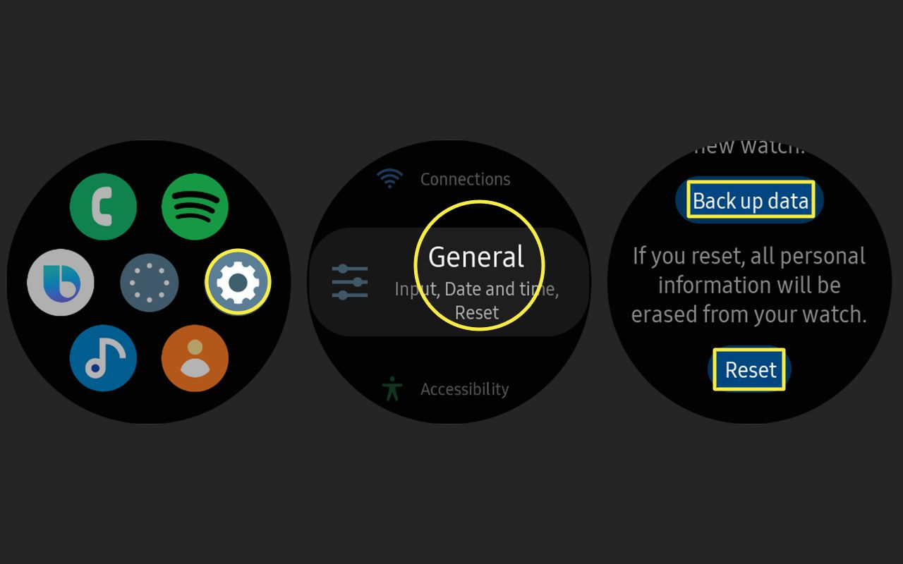 The factory reset options accessed from the Apps and Settings menus on the Samsung Galaxy Watch Active2.