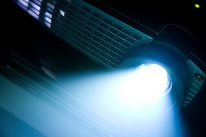 Slideshow projector with light glowing.