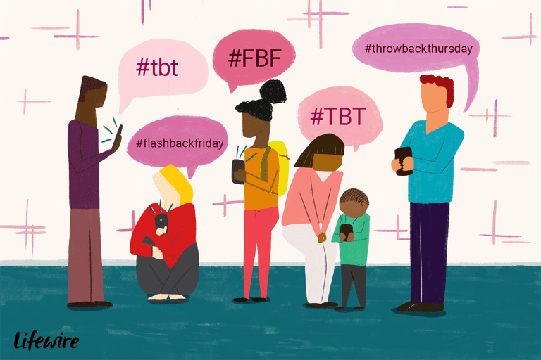 An illustration of people on their mobile devices using the #tbt and #fbf hashtags.