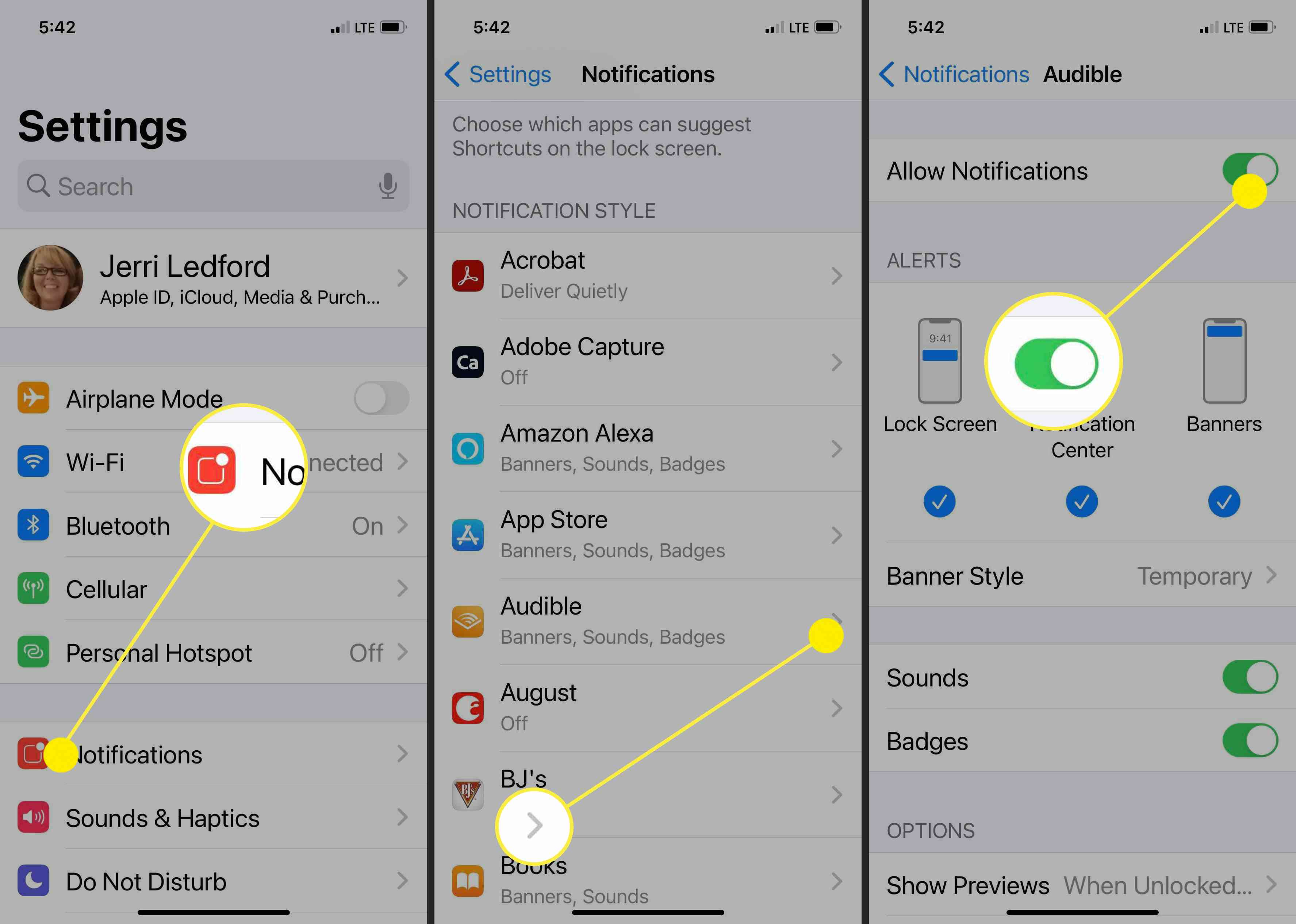 Screenshots showing how to adjust notifications on iPhone.