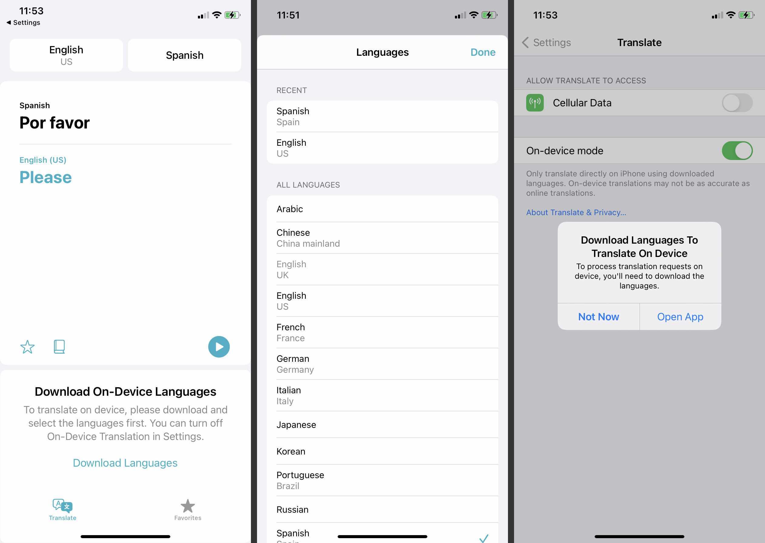 Apple Translate on iOS
