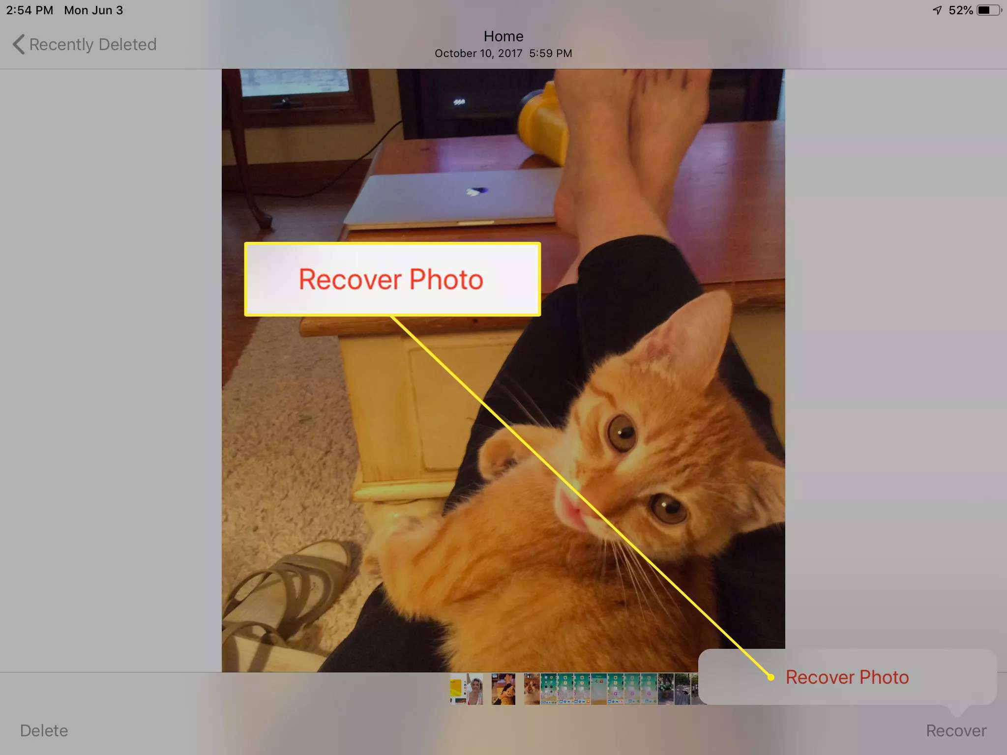 Recover Photo button in Photos on iPad