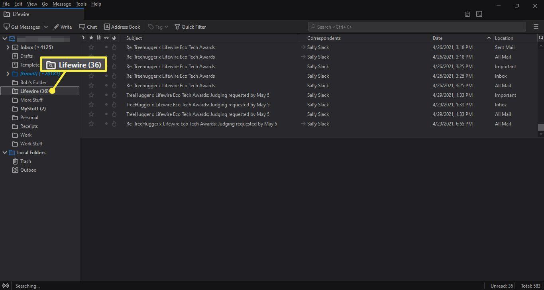 Saved search folder in Thunderbird folders