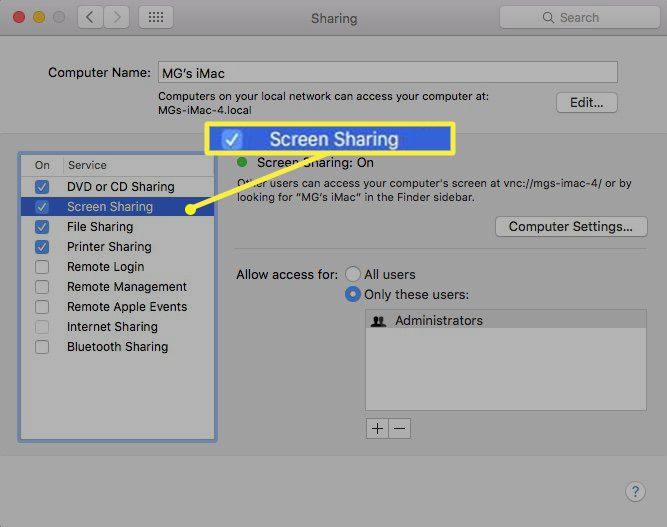 Screen Sharing turned on from the macOS Sharing dialog box
