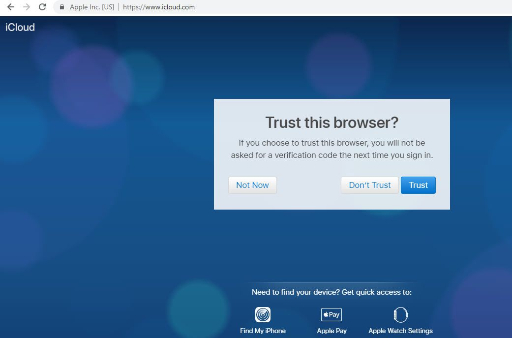 A screenshot of the iCloud browser trust question in the Google Chrome browser