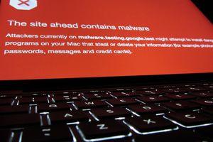 A malware alert on a laptop