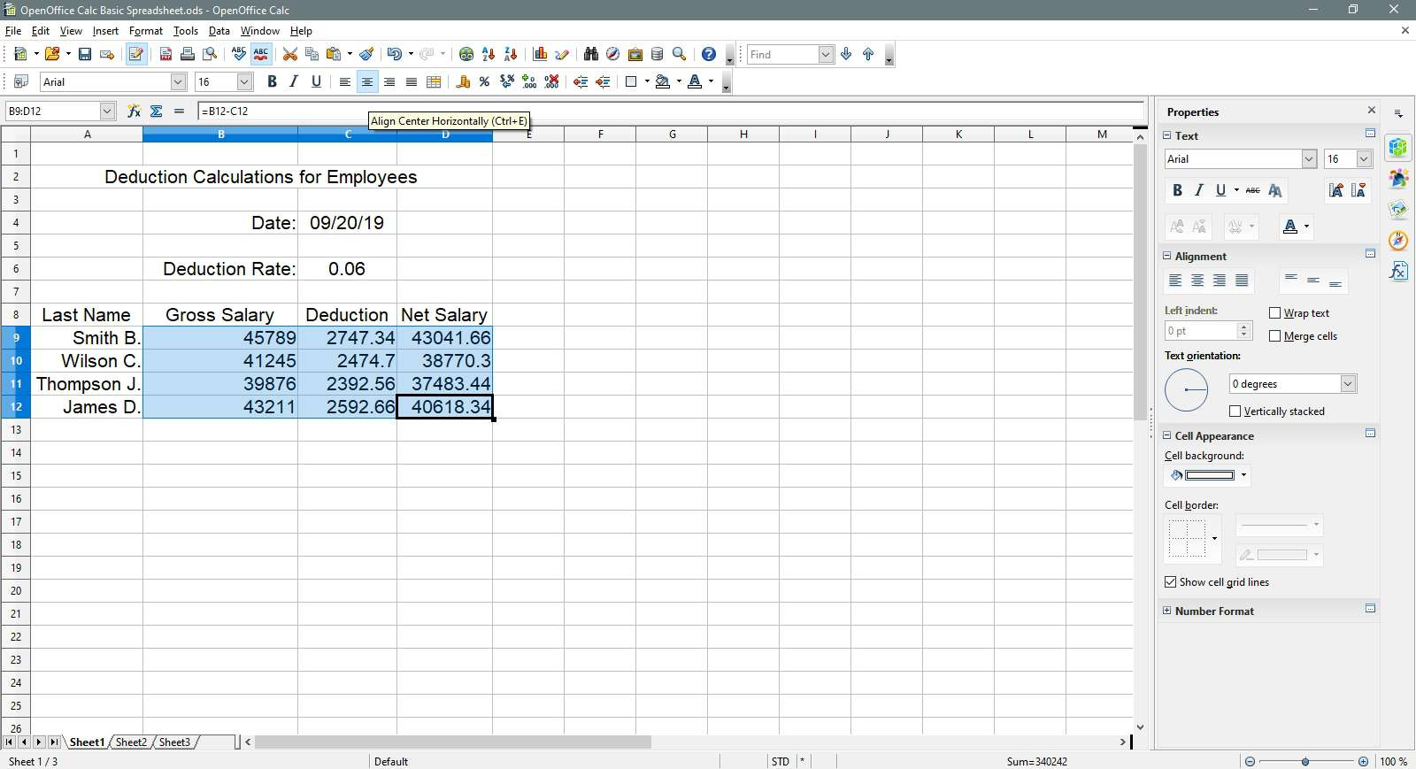 Cells are aligned horizontally centered in OpenOffice Calc.