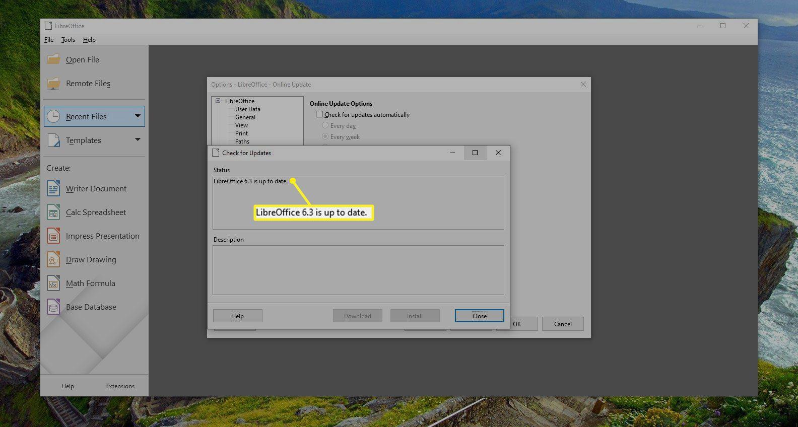 LibreOffice update status window
