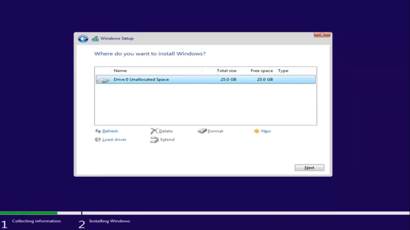 Choose the unallocated space on your hard drive, then select Next.