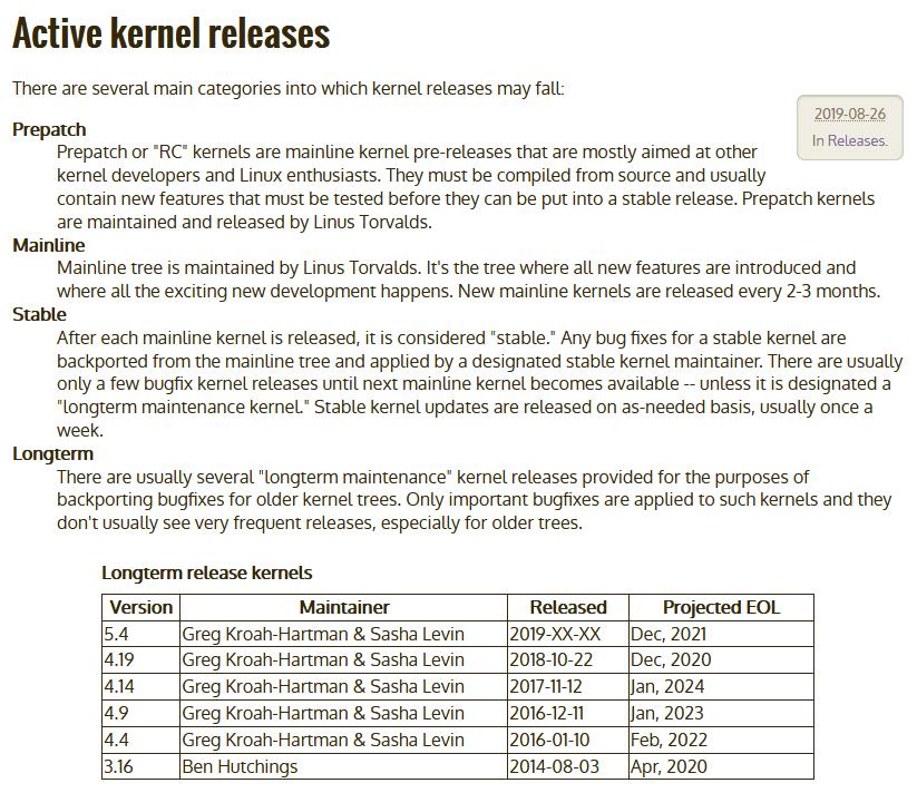 Linux kernels
