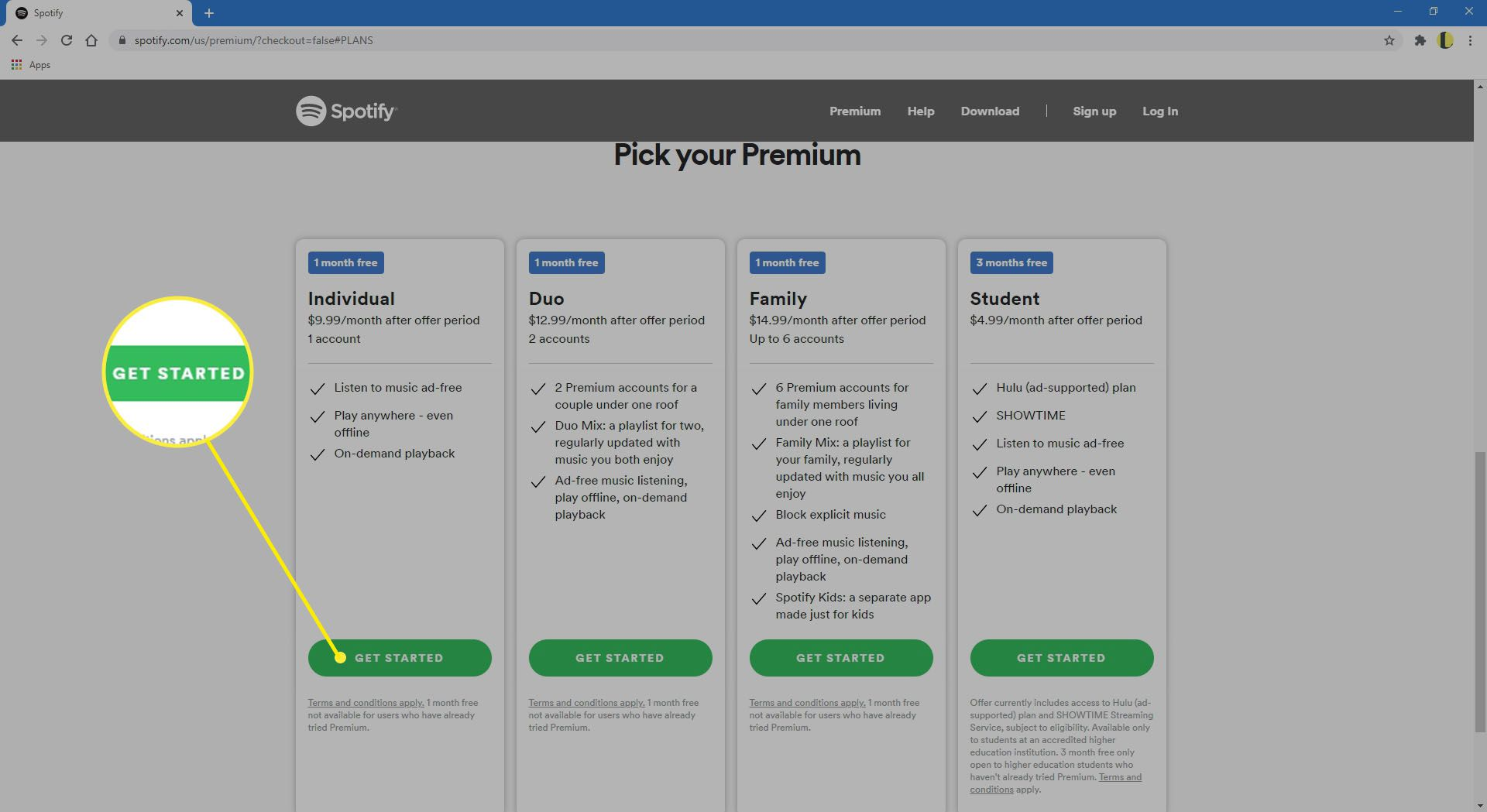 Selecting Get Started on the Spotify website.