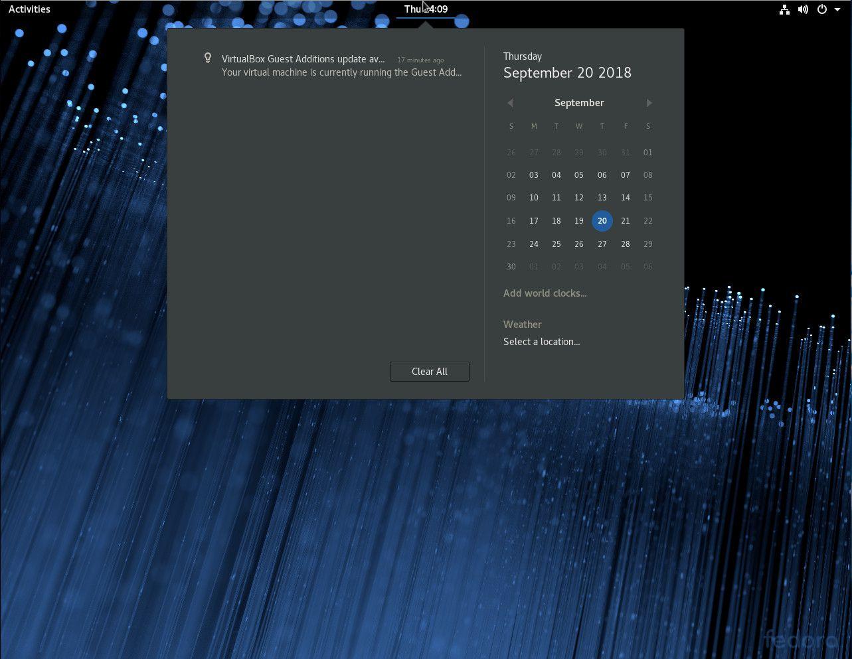 A screenshot showing GNOME's calendar.
