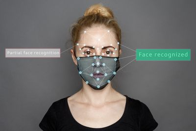 face recognition software scanning and recognizing a woman wearing a mask