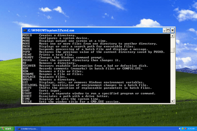 Windows XP Command Prompt open from the desktop