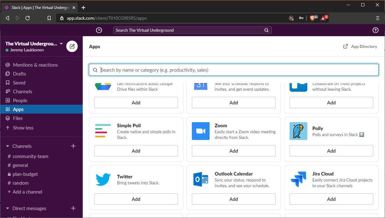 A screenshot of Slack apps.