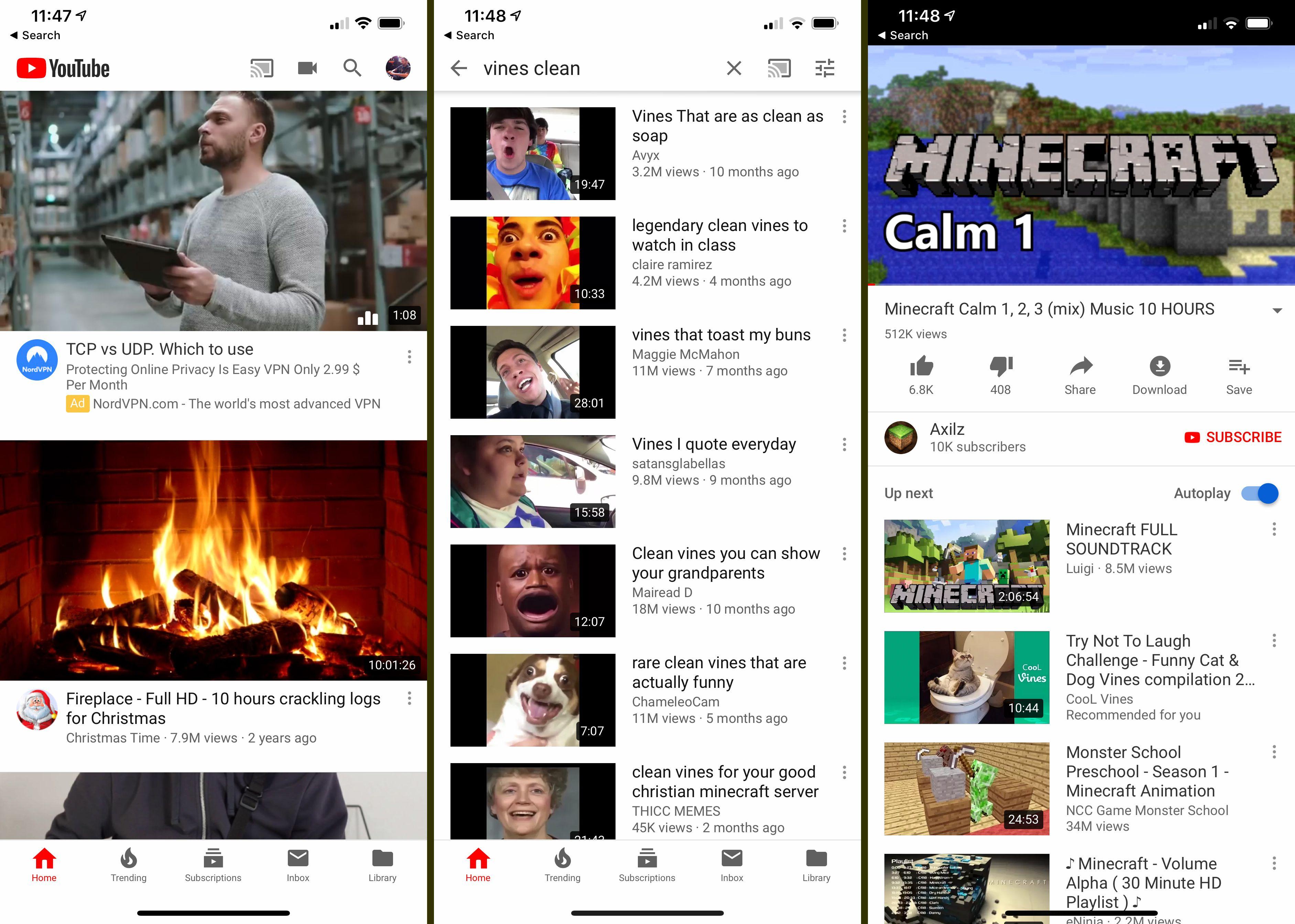 Three iOS YouTube screens