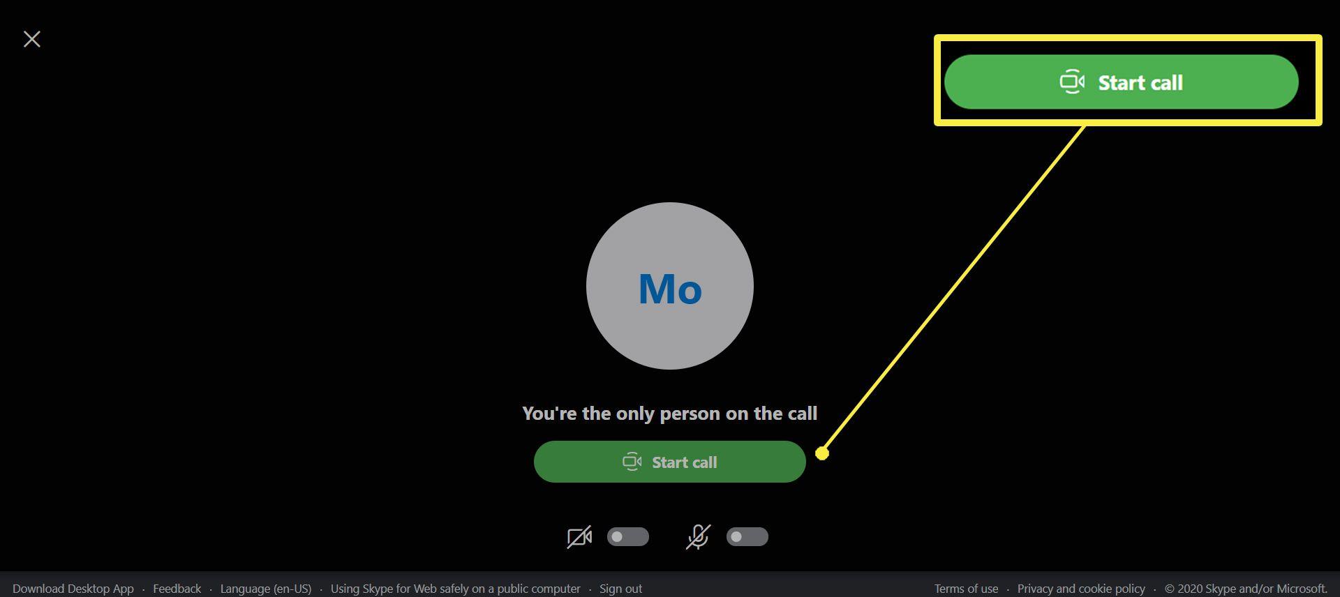 Starting a Skype Meet Now Call.