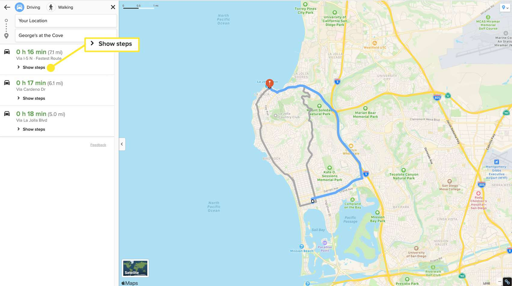 Select Show Steps to see your exact route