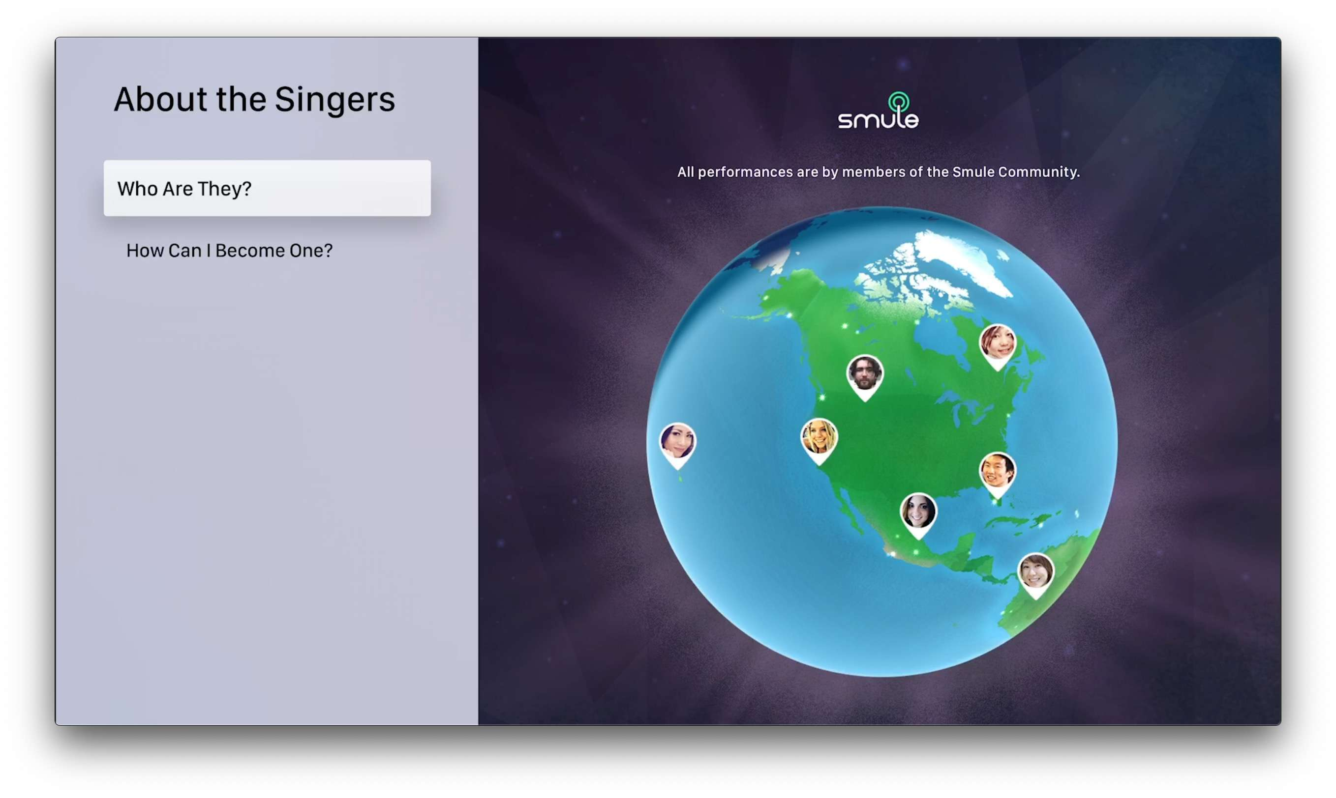 Smule songbook app for Apple TV
