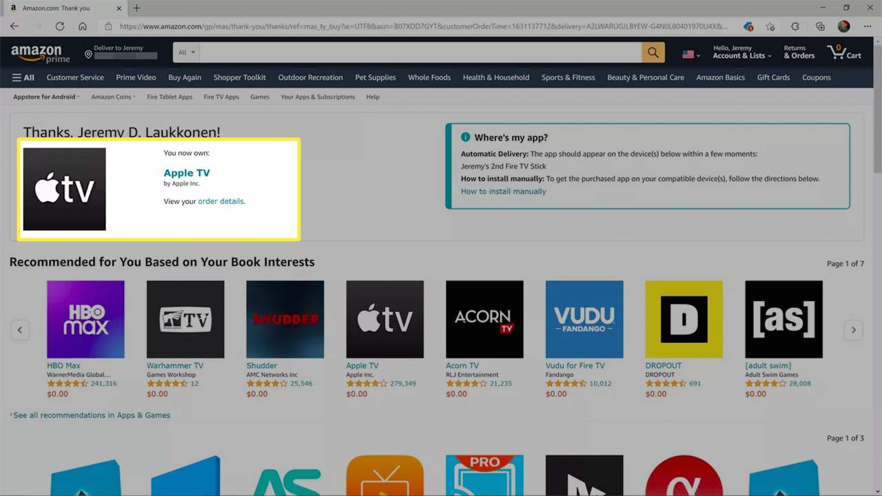 The Apple TV app obtained from the Amazon app store website.